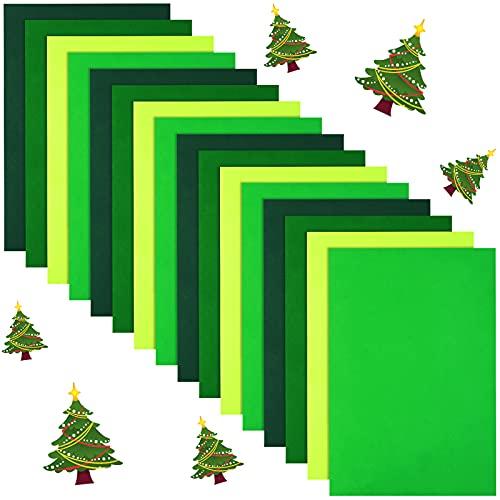 16 Pieces Christmas Felt Fabric Sheets, Christmas Soft Non Woven Assorted Color Felt Fabrics, Squares Sewing Patchwork Felt Craft for DIY (Green Colors)