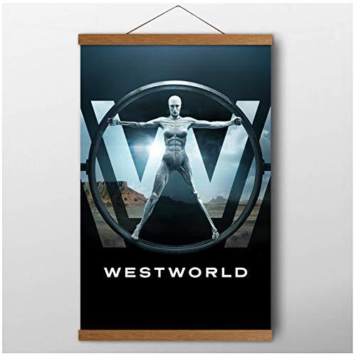 chtshjdtb Westworld Stagione 1 Classic TV Show Wall Art Poster Stampe su Tela per Soggiorno Decorazioni pergamene in Legno di Teak Decor