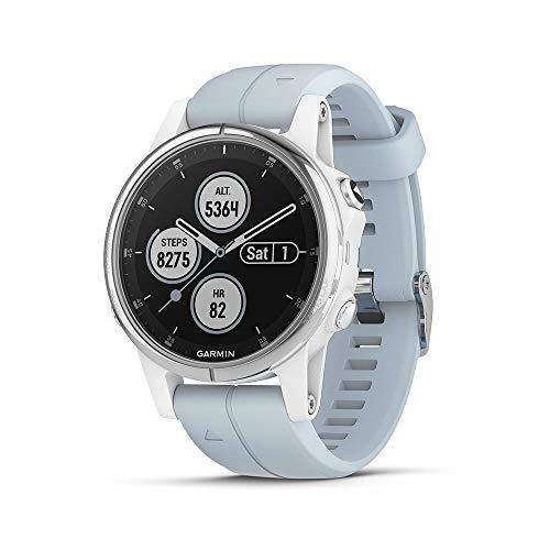 Garmin Fenix 5S Plus, GPS Smartwatch, Silver/White with Light Blue Band (Renewed)