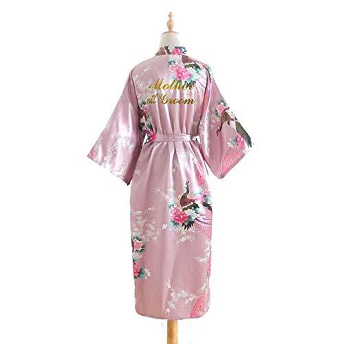 IAMZHL Bata de Verano Kimono Vestido de Novia Ropa de Dormir Novia Albornoz Regalos de Fiesta Nupcial Bata-Dark Pink-One Size