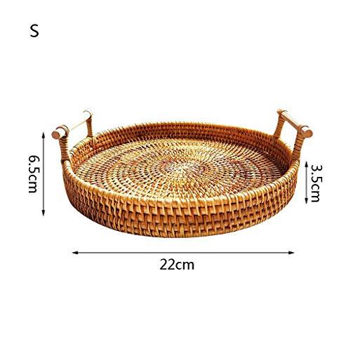 zrshygs Round Rattan Storage Tray Basket with Handle Hand-Woven Bread Fruit Food Breakfast Display Holder