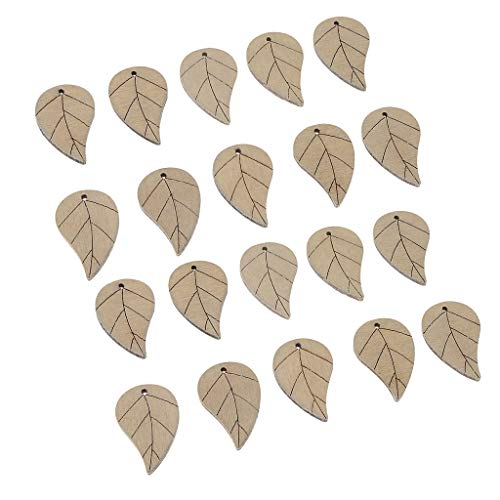 IPOTCH 20pcs Branelli Allentati di Legno Verniciati Colore Fatto A Mano Forma di Foglia Creazione di Gioielli - Beige