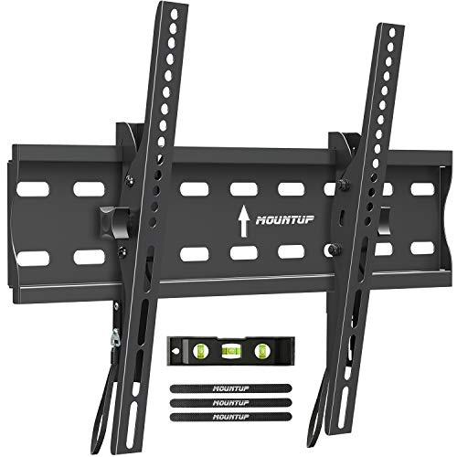 "MOUNTUP Tilting TV Wall Mount Bracket for 26-55 Inch Flat Screen TVs/Curved TVs, Low Profile TV Wall Mount TV Bracket - Easy to Install On 12"" or 16"" Studs, VESA 400x400mm Weight up to 99 LBS, MU0007"