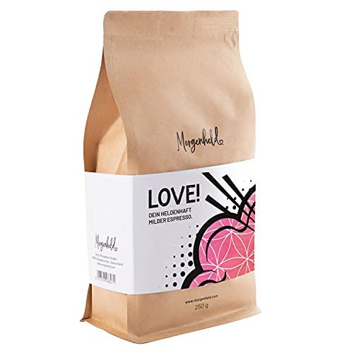 Morgenheld LOVE Dein heldenhaft milder Espresso, ganze Kaffeebohnen 250g kräftig mild und säurearm, Arabica Robusta Premium Barista Qualität