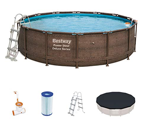 Piscina Desmontable Tubular Bestway Power Steel Diseño Rattan
