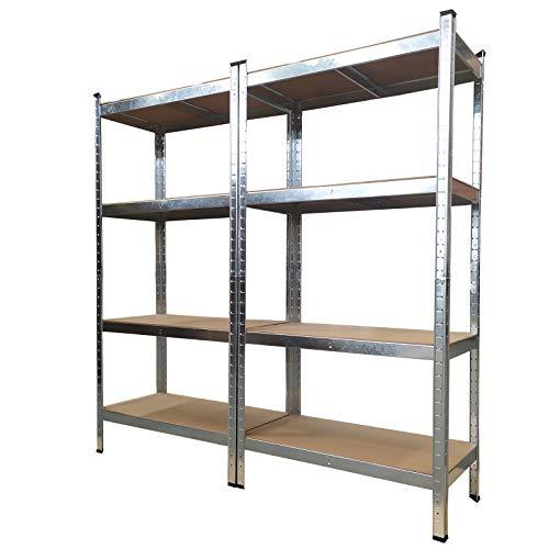 Grafner Doppel Schwerlastregal mit 8 Böden aus MDF, maximale Belastung 1400 kg, abgerundete Ecken, 160x160x40 cm, Doppelpack Steckregal, Lagerregal Kellerregal