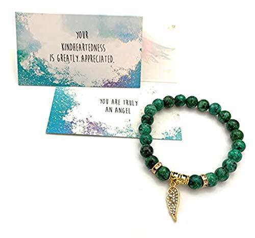 Smiling Wisdom - Angel Wing Stretch Stone Bracelet - Appreciation Kindhearted Thank You Keepsake Greeting Card - Friendship – Green Rain Flower Stones - 7.5 inches Medium