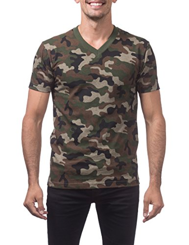 Pro Club Men's Comfort Short Sleeve V-Neck T-Shirt, Green Camo, 4X-Large