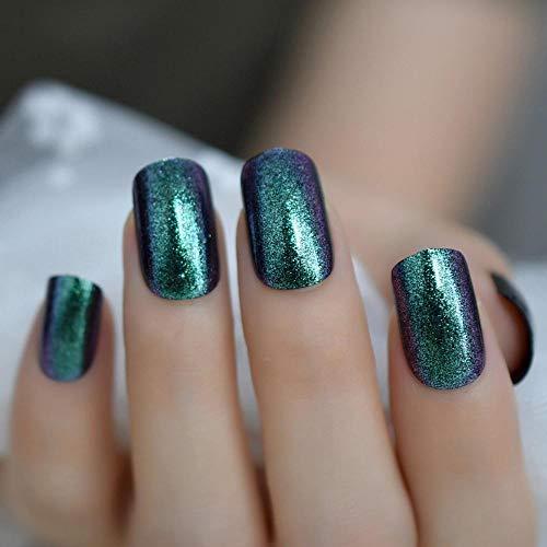 TJJF Shimmer Chrome False Nail Full Cover Square Green Fake Nails Medium Square Shining Artificial Nail