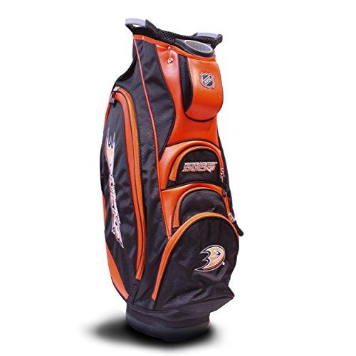 Team Golf NHL Anaheim Ducks Victory Golf Cart Bag, 10-way Top with Integrated Dual Handle & External Putter Well, Cooler Pocket, Padded Strap, Umbrella Holder & Removable Rain Hood