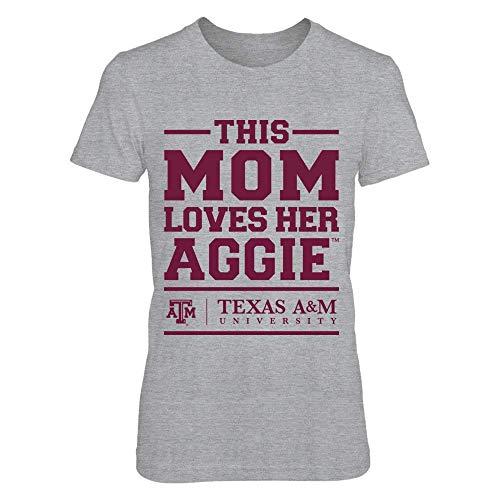 FanPrint Texas A&M Aggies T-Shirt - This Mom Loves Her Aggie - Premium Women's Tee/Grey/M