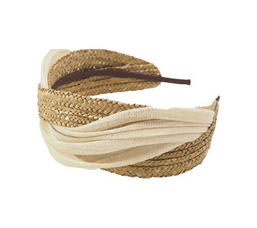 Masario Tocado Diadema de Paja Trenzada y Abaca Modelo Camille Abaca. Color Natural. 6 cm de ancho y 36 cm de largo. 1 ud. (Beige dorado, 6 cm de ancho y 36 cm de largo aprox.)