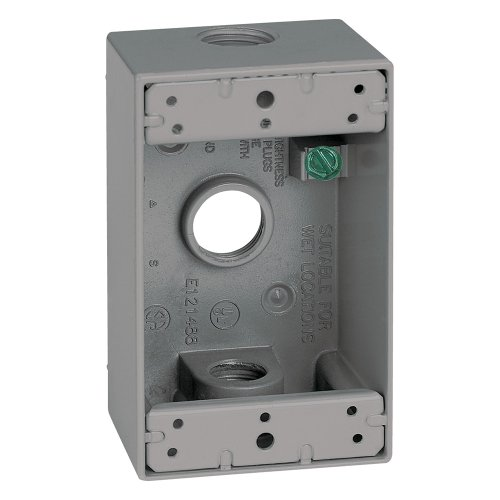 Sigma Electric, Gray 14250 1/2-Inch 3 Hole 1-Gang Box