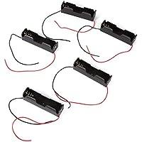 Zerone - Caja de Almacenamiento con Clip de Resorte de plástico para 1 batería 18650 con Cables Recargables