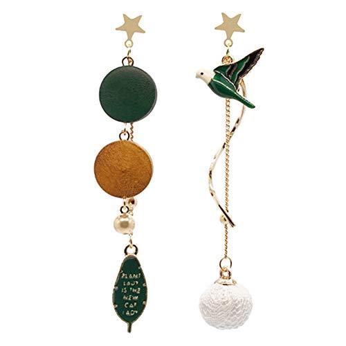SOQNVLN Pendientes de tuerca para mujer, diseño asimétrico, con borla larga, diseño de pájaro, color dorado