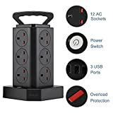 Hotyin Tower Extension Lead with USB Slots, Surge Protector Power Strip with 12 Way Outlets and 3 USB Ports, Overload Protection Extension Cord 1.8M for TV Cell Phones Laptops
