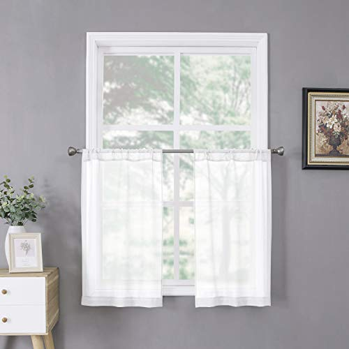 Tollpiz Sheer Tier Curtain Linen Textured Half Kitchen Curtains Sheer Light Filtering Rod Pocket Voile Small Curtains for Bathroom, 25 x 36 inches Long, White, Set of 2 Panels