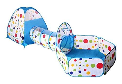 DZHTSWD Niños Plegables Tienda de niños, niños Teepee Tienda de campaña Interior/al Aire Libre Play Túnel y Juego Tienda 3-en-1 Plaza de Juegos para niños Bebé de Juguete para niños Bola de Juego in