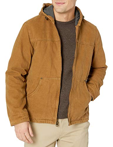 Levi's Men's Cotton Canvas Fleece Lined Hoody Jacket, Workers Brown, Small