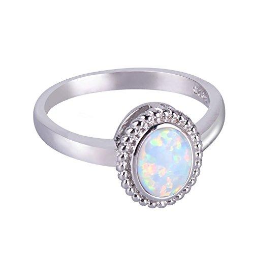 KELITCH Ringe Zum Frau Mädchen 925 Sterling Silber Überzogen Oval Weiß Synthetik Opal Solitär Damen Ring - Größe Nein