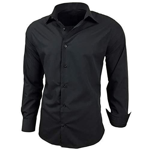 Baxboy Herren-Hemd Slim-Fit Bügelleicht Für Anzug, Business, Hochzeit, Freizeit - Langarm Hemden für Männer Langarmhemd R-44, Farbe:Schwarz, Größe:4XL