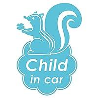 imoninn CHILD in car ステッカー 【シンプル版】 No.36 リスさん (水色)