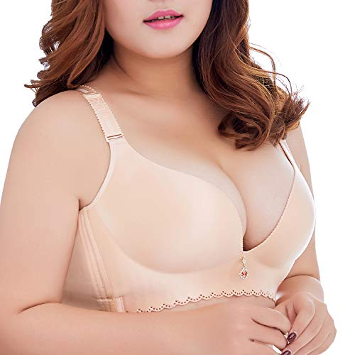 Ohrwurm Women Plus Size Bra Wire Free Push Up Smoothing Back Everyday Bra Nude 36D