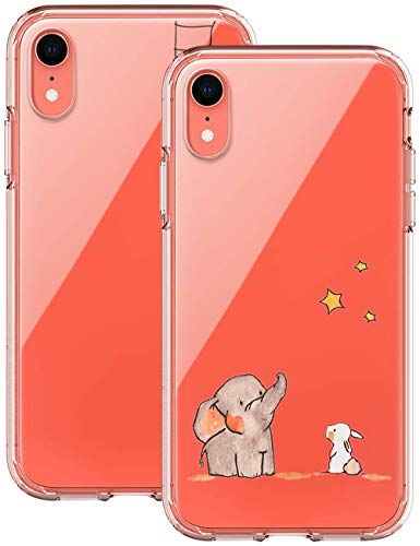 kinnter 2 Stück Silikonhülle Kompatibel mit iPhone XR Hülle 360 Grad Stoßfest Kratzfest Schutzhülle Ultra Dünn Soft Rückschale Handyhülle TPU Case Cover für iPhone XR