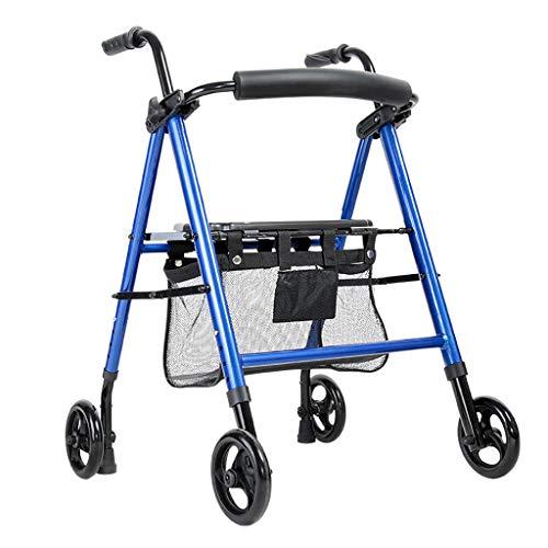 Rollator Walker, verstelbaar handvat en stoel hoogte vouwen Walker, licht gewicht aluminium Walker met mandje, blauw