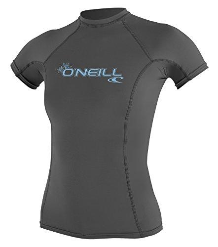 O'Neill Women's Basic Skins UPF 50+ Short Sleeve Rash Guard, Graphite, M