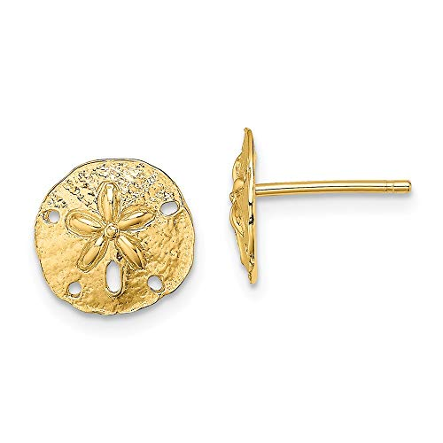 14k Yellow Gold Mini Sand Dollar Sea Star Starfish Post Stud Earrings Ball Button Animal Life Fine Jewelry For Women Gifts For Her