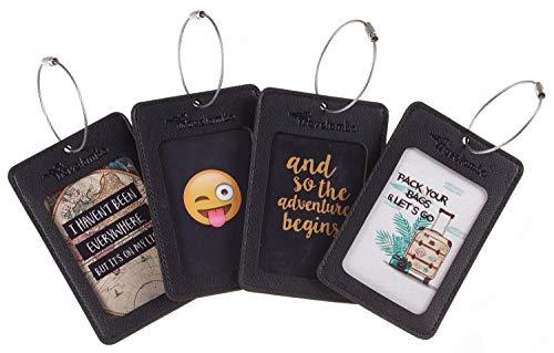 Travelambo Leather Luggage Tag Suitcase Bag Travel Tags (Black 4 pcs Set)