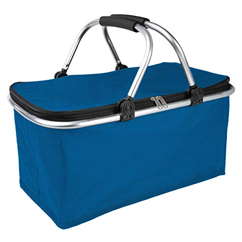 ONVAYA® Einkaufskorb faltbar mit Kühlfunktion | schwarz/gelb/blau | Faltkorb mit Deckel | Isolierkorb | Einkaufstasche | Klappkorb | Thermokorb klappbar (Dunkelblau)