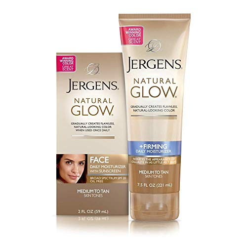 Jergens Natural Glow Healthy Complexion Daily Facial Moisturizer for Medium to Tan SPF, 2 Ounce with Jergens Natural Glow + Firming Daily Moisturizer Medium to Tan Skin Tones 7.5oz