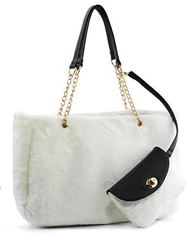 Hoxis Damen Handtasche mit Handschlaufe und Schulterriemen, Weiá (weiß), Large