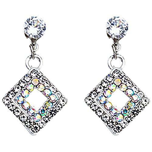 Mujer Pendientes Hueco Simétrico Geometría Diamante Delicado Elegante Pendientes Pendientes Colgantes Pendientes Cortos Joyas de Oreja - Plata