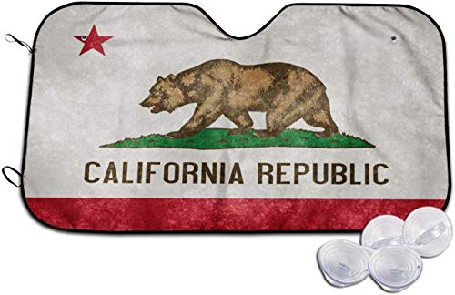 DAWN&ROSE Parasol para parabrisas de coche, diseño de bandera de California, tamaño universal, plegable, bloquea los rayos UV para mantener tu vehículo fresco y libre de daños (51 x 27.5 pulgadas)
