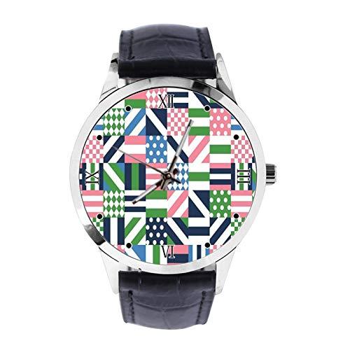 Reloj de pulsera analógico de cuarzo con diseño geométrico y triángulo personalizado para niñas y niños