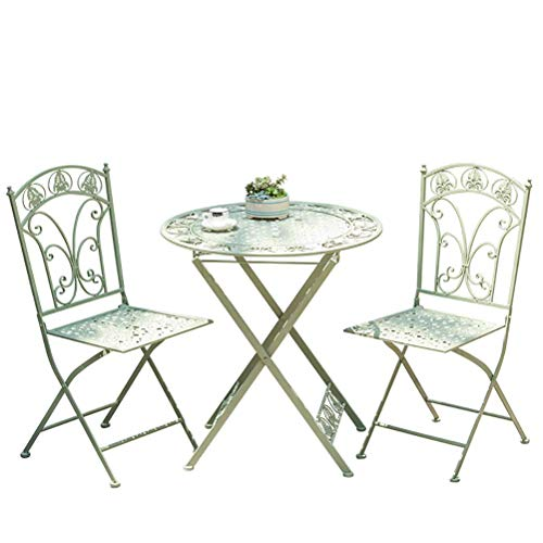 Extérieur Table et chaises Pliantes - Jardin Patio Table 2 chaises Large - Preuve Rust |Imperméabiliser WKY (Color : Green)