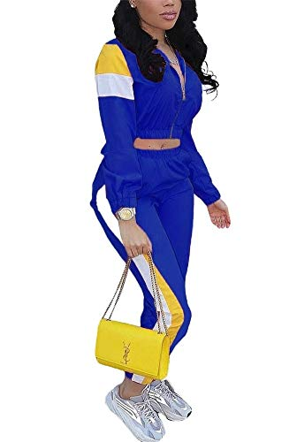 EOSIEDUR Women 2 Piece Outfits Tracksuit Jumpsuits Lightweight Windbreaker Pullover Jacket Crop Top Pants Set Blue S 0-2