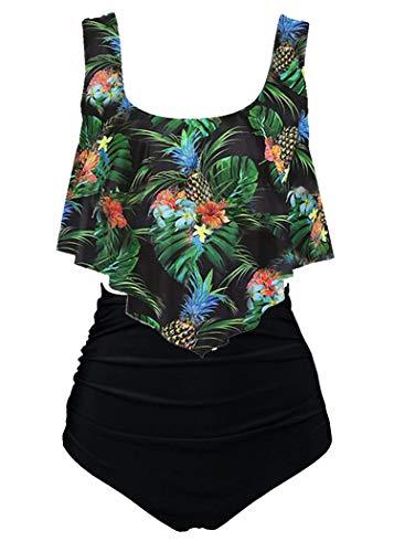 Aidotop Damen Badeanzug Rüschen Zweiteilige High Waist Bikini Retro Sätze mit hoher Taille Bademode Strandkleidung(10black Pineapple,EU 14-16(L))