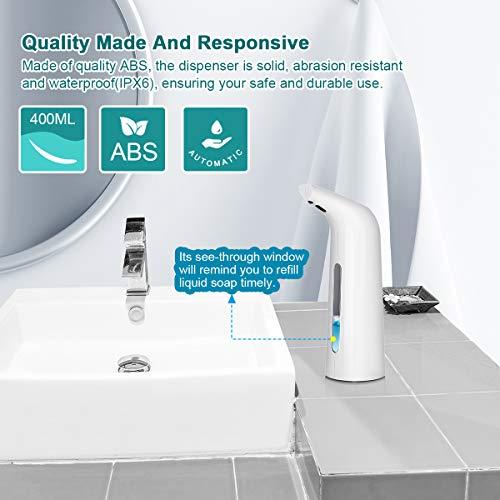 YOOSUN Soap Dispenser, Automatic Soap Dispenser Touchless, Infrared Motion Sensor Waterproof Hands Free Soap Dispenser 400ML for Kitchen Bathroom (White, 400ml)