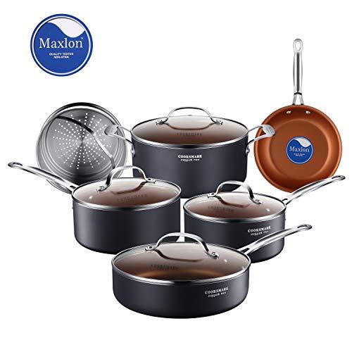 鍋・フライパンセット IH対応 セラミック コーティング 蒸し器付 ガラス鍋蓋付 食器洗い機対応 10点セット