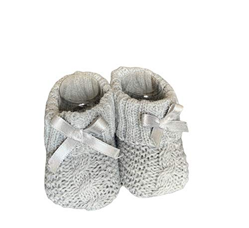 Dor Socken für Babys, Mädchen, 0-6 Monate, geflochten, in Geschenkbox, Socken mit Schleife für Neugeborene, Mädchen, Grau 6 meses