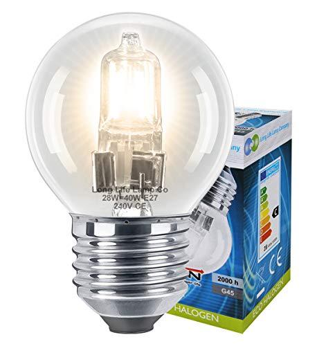 Long Life Lamp Company Mini Balle de Golf Ampoules halogènes à économie d'énergie – Lot de 10, Verre, Blanc Chaud, 40 W, E27 (Edison Screw) 28 Watts
