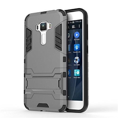 Apanphy Asus Zenfone 3 Hülle , Dual Layer Kratzfeste Tasche Schutzhülle mit Ständer für Asus Zenfone 3 case cover (ZE552KL 5.5inch) Grau