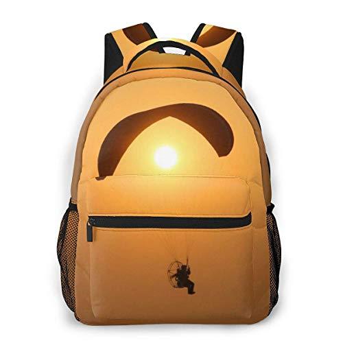 Lawenp Mode Unisex Rucksack Gleitschirm Silhouette Sunset Sport Bookbag Leichte Laptoptasche für Schulreisen Outdoor Camping