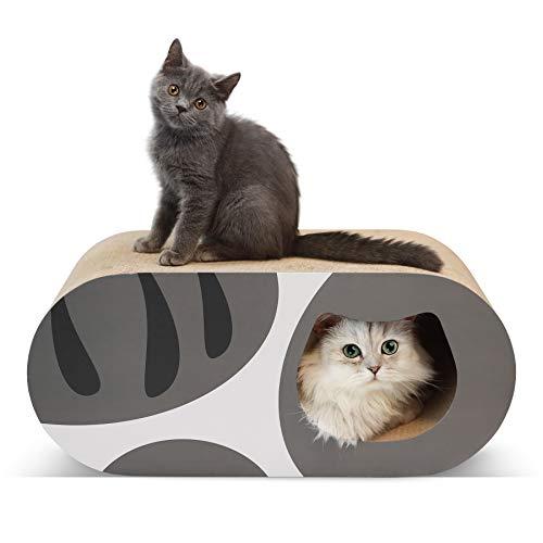 ComSaf 猫 つめとぎ トンネル 爪とぎ 段ボール 大型 猫ハウス 猫ベッド 58×25.5×25.5cm(幅X奥行X高さ) サバ白猫