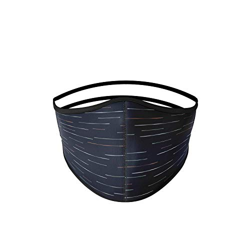 Mascarilla higiénica de tela negra con líneas, reutilizable,...