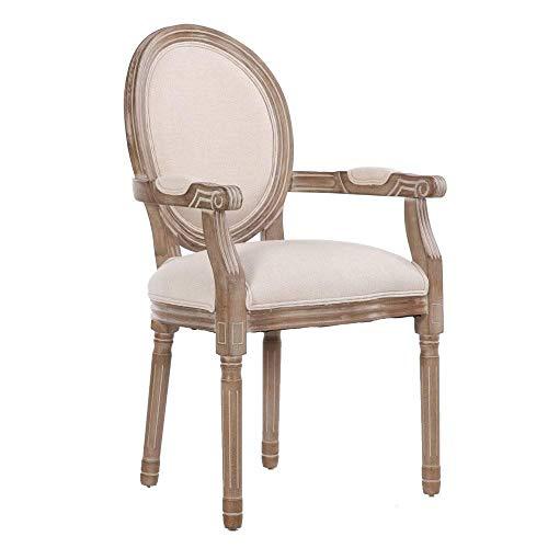 Inside silla medallón Versalles estilo Louis XVI lino beige claro